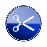 Scissors icon glossy blue, isolated on white background