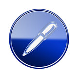 Pen icon glossy blue, isolated on white background