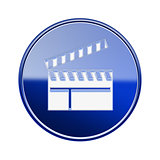 movie clapper board icon glossy blue, isolated on white backgrou