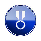 medal icon glossy blue, isolated on white background.
