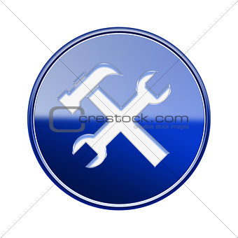 Tools icon glossy blue, isolated on white background.