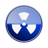 Radioactive icon glossy blue, isolated on white background.