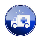 First aid icon glossy blue, isolated on white background.