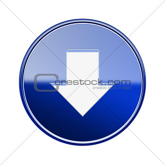 Arrow down icon glossy blue, isolated on white background