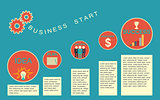 Business start infographics template.