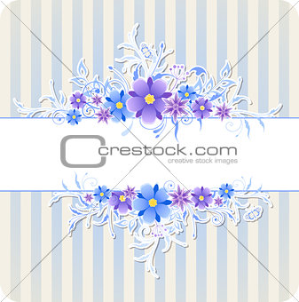 Background with blue flowers and strips