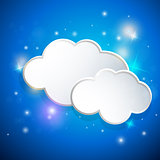 Blue background with white clouds