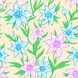 Pattern with blue flowers and leaves