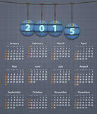Stylish English calendar for 2015 on linen texture with jeans ta