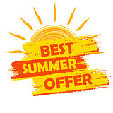 best summer offer with sun sign, yellow and orange drawn label