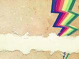 retro old paper with drawn rainbow zigzag lines and text space