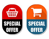 special offer with shopping basket and cart signs, two elliptica