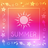 summer with sun and summery symbols in frame
