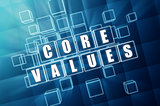core values in blue glass blocks
