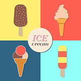 ice cream, summery retro label, flat design