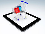 Shopping Cart over Tablet PC. E-commerce Concept.
