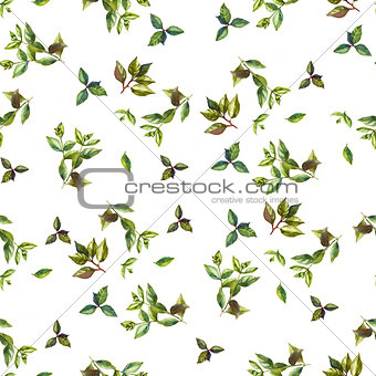 Watercolor mix leaves seamless pattern