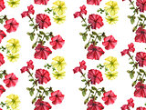 Seamless watercolor petunia pattern.