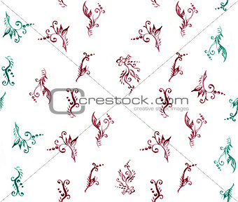 Watercolor floral ornament seamless pattern