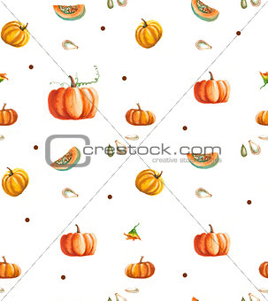 Watercolor seamless pumpkin pattern