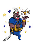 Cartoon genie with lamp