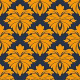 Damask seamless pattern in blue and orange