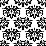 Damask seamless pattern with bold black motifs