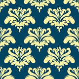 Blue and yellow damask seamless pattern