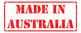 Made in Australia  - Red Rubber Stamp.