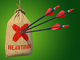 Heartburn - Arrows Hit in Red Mark Target.