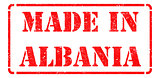 Made in Albania on Red Rubber Stamp.