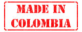Made in Colombia on Red Rubber Stamp.