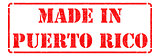 Made in Puerto Rico on Red Rubber Stamp.