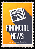 Financial News on Yellow in Flat Design.