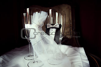 four ceremonious wedding glasses