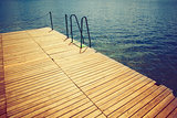 Wooden wharf and water
