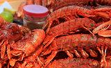 Freshwater prawn seafood.