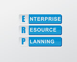 ERP in blue blocks, flat design