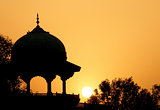Moslem fortress silhouette at sunrise. Taj Maha