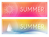 summer with sun and boat banners