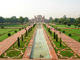 Overview of the Taj Mahal and garden