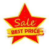 best price sale in star, yellow and red drawn label