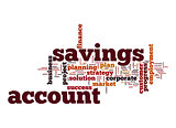 Savings account word cloud