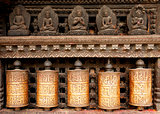 Prayer wheels at swayambhunath monkey temple in Kathmandu
