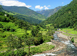 Rice fields and freshwater. Himalayan landscape
