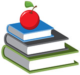 Stack of books and an apple. Vector cartoon