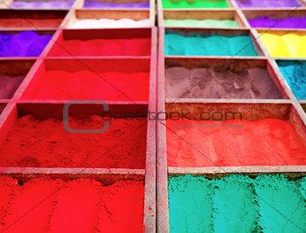 Bright colored tika powder used in Hindu religion