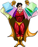 Superhero holding shopping bags
