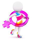 3d white people female sign