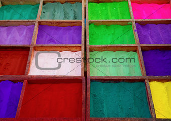 Bright colored tika powder used in Hindu religion